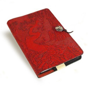 Red Twisted Tree/Cloud Garden Embossed Leather Writing Journal, 15cm x 23cm , refillable
