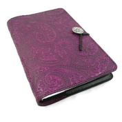 Purple Paisley Embossed Leather Writing Journal, 15cm x 23cm , refillable
