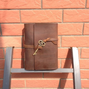 Leather Journal with Key Handmade Genuine Leather Blank Craft Paper Brown A5 with Gift Box