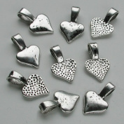 25 Small Spider Randomly Distressed Heart Pendant Bails - Antique Silver plated - Glue On. Great for Making Dichroic, Glass & Wooden Tile Jewellery. Fits Aanraku Leather Cords.