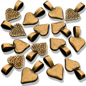 25 Small Spider Antique Gold Plated Heart Pendant Bails - Glue On. Great for Making Dichroic, Glass & Wooden Tile Jewellery. Fits Aanraku Leather Cords.