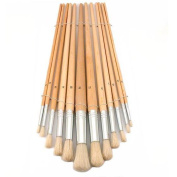 12 Round Tip Paint Brushes Oil Acrylic Painting Craft