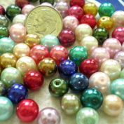 50pcs Mix Satin Lustre Glass Pearl Round Beads 8mm ~Loose Beads~