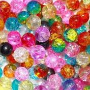 50pcs Mix 2-tone Crackle Lampwork Glass Round Beads 6mm