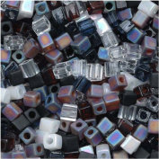 Miyuki 4mm Glass Cube Beads Colour Mix Pebblestone Black White 10 Grammes
