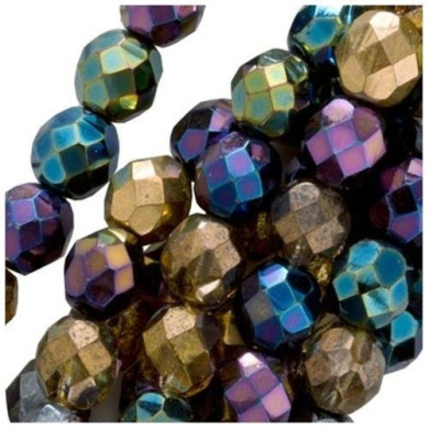 50pcs 6mm Czech Fire-Polished Glass Beads Faceted Round Heavy Metal Mix