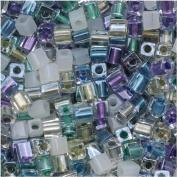 Miyuki 4mm Glass Cube Beads Colour Mix Serenity Greens Purples 10 Grammes