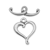 Silver Plated Pewter Scroll Heart Toggle Clasp 14mm