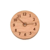 Cherry Wood Laser Cut Steampunk Clock Face Pendant Bead Component 1.9cm