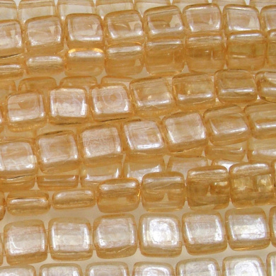 Czechmate 6mm Square Glass Czech Two Hole Tile Bead - Lustre Transparent Champagne