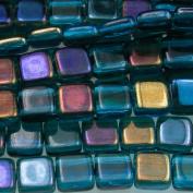 Czechmate 6mm Square Glass Czech Two Hole Tile Bead - Twilight Teal