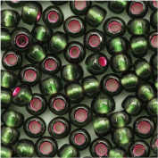 Toho Round Seed Beads 6/0 #2204 'Silver Lined Frosted Olivine Pink Lined' 8 Gramme Tube