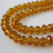 Crystal Glass Beads, 4x3mm Faceted Rondelle, Amber