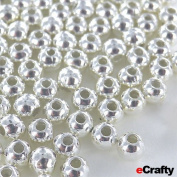 """100 Silver Plated Metal Spacer Round Beads 4mm 1/6"""" DIY Jewellery Beading Crafts"""