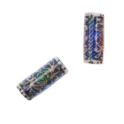 Mirage Colour Changing Mood Beads - Tubes With Secret Garden Pattern 16x6.5mm