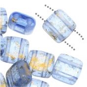 Czechmate 6mm Square Glass Czech Two Hole Tile Bead - Gold Marbled/Light Sapphire