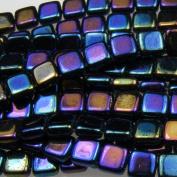 Czechmate 6mm Square Glass Czech Two Hole Tile Bead - Iris Blue
