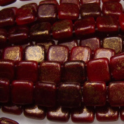 Czechmate 6mm Square Glass Czech Two Hole Tile Bead - Oxblood/Gold Marbled