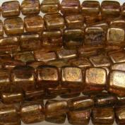 Czechmate 6mm Square Glass Czech Two Hole Tile Bead - Lustre Transparent Gold/Sm.Topaz