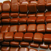 Czechmate 6mm Square Glass Czech Two Hole Tile Bead - Umber