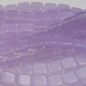 Czechmate 6mm Square Glass Czech Two Hole Tile Bead - Milky Alexandrite