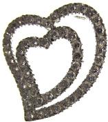 Bead Collection 41268 Cubic Zirconia Crystal Double Heart Pendant Bead