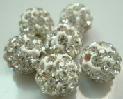 20pcs 10mm Clear Crystal Rhinestone Disco Ball Pave Beads Charms Jewellery Makings