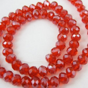 Crystal Glass Beads, 4x3mm Faceted Rondelle, Red, Sparkle Finish