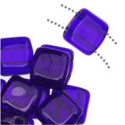 CzechMates Glass 2-Hole Square Tile Beads 6mm - Cobalt Blue