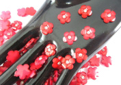 40Pcs Red DAISY Resin Flower Loose Flatback - 12mm - with crystals. Rhinestone beads - wholesale Lot supplies scrapbook jewellery crafts - embellishing Scrapbook Card weddings work hair clips headbands hats