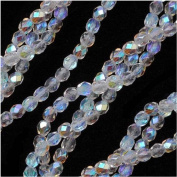 100 pcs Czech Fire-Polished Faceted Glass Beads Round 4mm Crystal AB