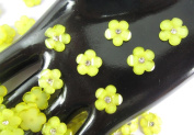 40Pcs Yellow DAISY Resin Flower Loose Flatback - 12mm - with crystals. Rhinestone beads - wholesale Lot supplies scrapbook jewellery crafts - embellishing Scrapbook Card weddings work hair clips headbands hats