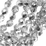 50pcs Czech Fire-Polished Faceted Glass Beads Round 6mm Crystal Silver