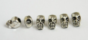 10 Metal Silver Skull Beads For 550 Paracord Bracelets, Lanyards, & Other Projects