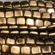 Czechmate 6mm Square Glass Czech Two Hole Tile Bead - Bronze