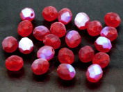 25pcs Czech Fire-Polished Faceted Glass Beads Round 8mm Matte Siam Ruby AB