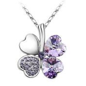 Hee Grand Crystal Four Leaf Clover Pendant Necklace Purple