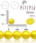 50pcs Czech Glass Pearl Beads Round 6 mm Pastel Yellow