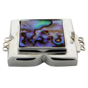 Sterling Silver Abalone Shell 3 Rows Jewellery Box with Tongue Clasp.