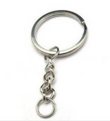 20x Flat Round 24mm Split Key Ring Keychain W/attached Extend Chain
