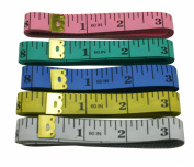 Yongshida Soft Retractable Push Button Tape Measure 5 Colours Case 150cm Length Pack of 5