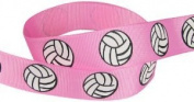 HipGirl Brand Printed Grosgrain Volleyball Up Close Ribbon, 5 -Yard 2.2cm , Pink