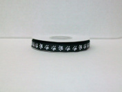 Dog Paw Print Satin Ribbon 1cm 25 Yards -- Black Background/ White Paw Print