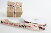Cotton Twill Made with Love Decorative Ribbon for Baked Goods, Treats & More - 1.6cm Wide X 25 Yards