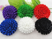 10pc Big Polyester Ribbon Cabbage Rose Flower Appliques