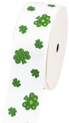LUV Ribbons Creative Ideas Grosgrain St. Patrick's Day Print Ribbon, 3.8cm , White