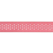 American Crafts 2.2cm Sheer with White Dots Ribbon, 3-Yard Spool, Scarlet