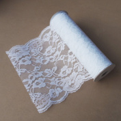 23cm Crochet Lace Ribbon Floral Trim 10 Yard Roll - White