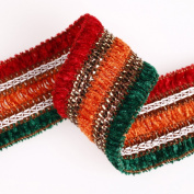 Soft and Luxury Feel Chenille Yarn Ribbon Trim Border, Stripes with Old Gold Lurex. Embellished Look for Cocktail Evening Wear Outfit & Indian Sari, Salwar Kameez or Dress Making Crafts; Great Price for a stunning Ribbon