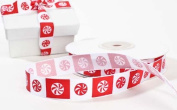 1.6cm Wide Red and White Peppermint Christmas Holiday Satin Ribbon - 2 Spools - 40 Yards Total